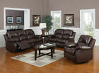 VALENCIA 3 + 2 LEATHER RECLINER SOFA SUITE (BROWN)