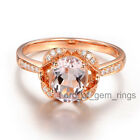 1.20ct 6x8mm Pink Morganite Diamonds Engagement Wedding Ring,Solid 14K Rose Gold