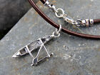 Outrigger canoe paddler necklace - sterling silver & leather - mens & womens