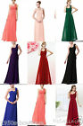 Flower One Shoulder Chiffon Long Bridesmaid Wedding Prom Party Dress *UK SELLER*