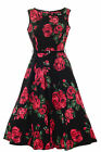 Lady Vintage Audrey Hepburn Red Green Rose Floral Dress 1950s Style SIZE 8-28