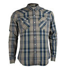 Mens Levis Sawtooth Western Slim Fit Blue and Grey Checked Denim Shirt