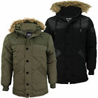 Mens Quilted Parka Jacket by Voi Jeans 'Detroit' Fur Trim Hoodie