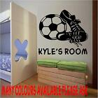 LARGE FOOTBALL;BOOTS AND NAME WALL ART  BEDROOM STICKER 600MMX500MM
