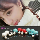 NEW 925 Silver Fashion Stud Earrings Double Sided Faux Pearl Earring Ear Stud