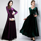 Women Long Dress Autumn Winter V Neck Long Sleeve Formal Prom Party Evening #Q57