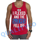 Men's I Flexed and the Sleeves Fell Off Funny Workout Muscle Gym Red Tank Top