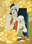 "J49 ART DECO STYLE PRINT""FLOWER LADY"" CHOICE OF SIZE ON CANVAS READY TO HANG"