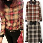Women Plaid Checked Printed Long Sleeve Casual Loose Chiffon T-shirt Tops Blouse