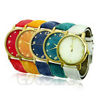 New Women Leather Analog Round Casual Cowboy Vintage Quartz Wrist Watch