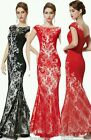 New Red Black Long Fishtail Evening Gown Bridesmaid Formal Party Dress UK SELLER