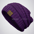Bubble Knit Slouchy CC Baggy Beanie Oversize Winter Hat Ski Cap Skull Women