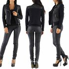 Womens Ladies Cotton Biker Jacket Leather look insert Black Sizes UK 6 8 10 12
