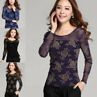 New Women Fashion Korean Lace Floral Slim Fit Top Hot Long Sleeve T Shirt Blouse