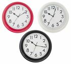 RETRO STYLE 30CM ROUND STATION CLOCK RED / CREAM / WHITE HOME WALL CLOCK