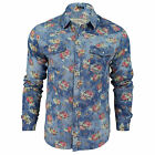 Mens Floral Denim Shirt by Soul Star 'Floo' Long Sleeved