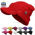 Visor Cable Knit Slouchy Baggy Beanie Oversize Winter Hat Ski Cap Solid Women