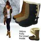 Ladies Quilted Winter Fur Lined Velro Calf  Ankle Boot Womens Shoes Size Uk 3-8