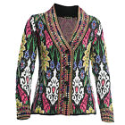 Acrylic Wool Bohemian Knit Waist Length Woollen Wear Winter Cardigan for Women