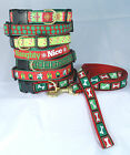 Up Country Christmas Holiday Dog Collar in 5 sizes or narrow or wide leash