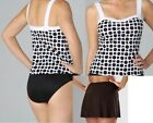 MIRACLESUIT 12-16 SWIMMERS MIRACLE TANKINI BATHERS 2 PC SUIT BLACK WHITE COSTUME