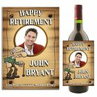 Personalised Wine Champagne Bottle Label HAPPY RETIREMENT N43 ~ Great Gift Idea
