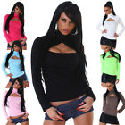 Langarm-Shirt Top NEU Sexy Clubwear Dance Party Basic Pulli einfarbig Shirt
