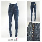 NEW Women's, Ladies Blue Acid Wash 7 Button High Waist Skinny Fit Jeans