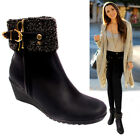 Womens Ladies Wedge Heel Fur Collar Warm Winter Flat  Zip Up Ankle Boots Shoes