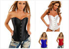 Women Stain Boned Lace Up Sexy Corset Pure Bustier Lingerie Overbust G-string G3