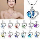 Heart Crystal Rhinestone Double Heart Silver Pantent Chain Charm Necklace Gifts