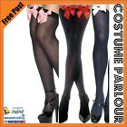 Womens Ladies Sexy Black Knee High Stockings With White Red Pink Bows Socks