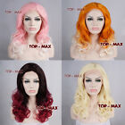 16 Inches Long Curly Mixed Colors Design Women Girl Synthetic Lace Front Wig
