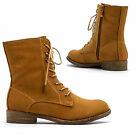 New Ladies Womens Flat Low Heel Army Ankle Boots Biker Military Shoes UK Size