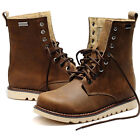 Mens REAL Leather Lace Up Round Toe Mid Calf Boots Casual Chukka Military Shoes