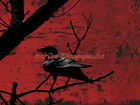 Raven - Red Rust Industrial Crow Signed Original Handmade Matted Picture A673