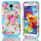 Heavy Duty Peony Flower Matte Armor Combo Case Cover For Samsung Galaxy S4 S5 S6