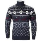 Soulstar Reindeer Print Polo Neck Knitted Jumper  Mens Size