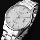 New Daily Water Resistant Men's Analog Date Watch Stainless Steel Wrist Watch