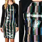 Shiny Cocktail Color Block Glitter Sequins Long Sleeve Evening MIDI Dress S M L