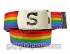 Rainbow Belt  YOUR INITIAL  buckle Gay Pride LGBT fem butch dyke LESBIAN gift ag