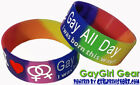 Lesbian Silicone Bracelet 1in LGBT Rainbow Pride Gay All Day I Was Born This Way