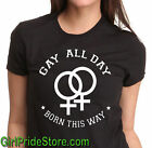 Gay All Day Lesbian Pride Tee shirt Rainbow Pride cotton short sleeve  LGBT