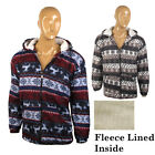 MENS KNIT LONG SLEEVE FLEECE HOODED HOODIE ZIP TOP DEER XMAS SNOW FLAKE SWEATER