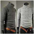 Mens Stretch Knitted Roll High Turtle Polo Warm Neck Casual Sweater Jumper Tops