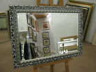 "NEW LARGE 3"" (75mm)ORNATE SILVER SHABBY CHIC STYLE FRAMED OVERMANTLE WALL MIRROR"