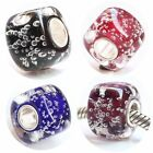 Sterling Silver Charm Ocean Bubbles Cubic Murano Glass Bead For 3mm Bracelets