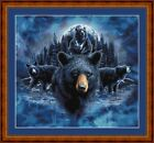 BLUE MOON BLACK BEARS -PDF/PRINT X STITCH CHART/KIT 14/18 CT A/WORK © S GARDNER