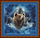 BLUE MOON BROWN BEARS - 14 COUNT X STITCH CHART (DMC THREADS) FREE PP WORLDWIDE