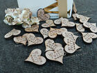 Personalised Hardwood Hearts 25mm, Favours, Table Decorations, Vintage Wedding